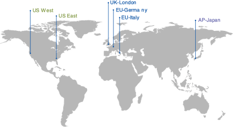 Fig 3. Locations of Xi Cloud DCs around the globe, as of June 2020