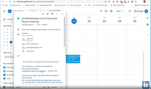 Joining Webex from a video conference room video uni