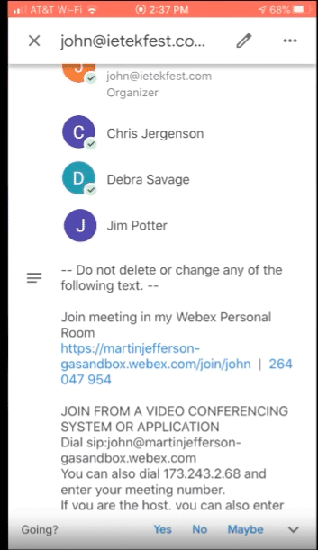 Joining Webex meeting from an iPhone