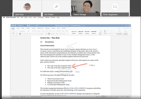 Annotating the Incident Response Document in Webex